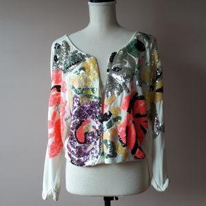 Tropical multi colored sequin bolero